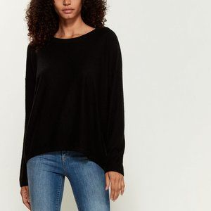 VINCE. Black Cashmere Hi-Low Sweater